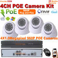 4CH NVR Kit 960P POE Camera System HD indoor 1.3MP IR Night Security IP Camera video record CCTV Monitor Surveillance System