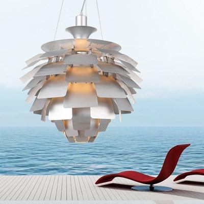 Nordic Modern Pine Cone Pendant Lights Fixture Denmark White/Silver Artichoke Lamps Home Indoor Lighting Aluminium D60cm/48cm