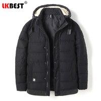 LKBEST Brand long winter coat loose thick Men Padded Parka hooded windproof Cotton winter jacket men lagre size outerwear 8853