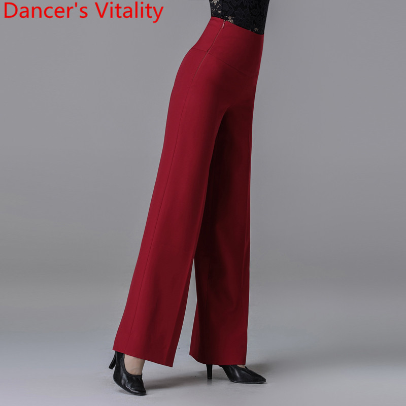 New Modern Latin Ballroom Dance Women Long Loose Pants Practice Trousers Black Red 2 Colors National Standard Waltz Jazz Clothes 5