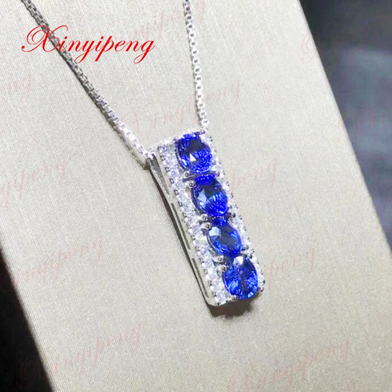 Xin yi peng 925 silver inlaid natural sapphire necklace women pendant anniversary gift браслет 925 3m yi skub012