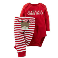 4 12M Infant Baby Boys Girls My First Christmas Print Clothing Set Long Sleeved Bodysuit Striped