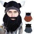 Men Mustache Braided Beard Ski Cap Beanie Crochet Knit Winter Warm Acrylic Yarn Novelty Acrylic Face Mask Hat