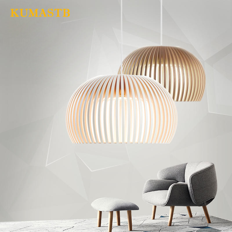 Modern Wooden Pendant Lights Minimalist Cage Home Decorative LED Hanging Pendant Lamp for Dining Room Bar Indoor Lighting 10 lights modern minimalist creative dna molecular led pendant lights for bar home lighting plated bulb suspension luminaire