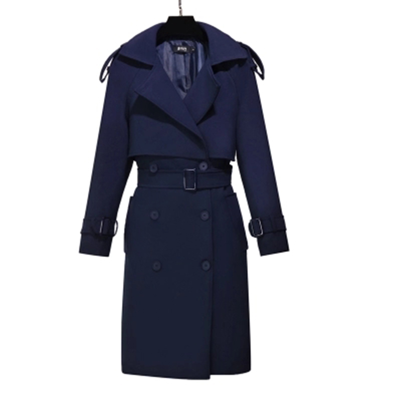 Collar Double Marine Automne Femelle Lady Coupe Trench Tranchée Down Breasted Printemps Longues Outwear Mince vent Bleu F564 Turn Manches Coat Femmes qHXOwfxC