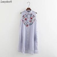 Loneyshow 2017 Women Elegant Striped Summer Dress A Line Fashion Embroidery Sleeveless Casual Dresses