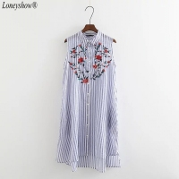 Loneyshow 2017 Women Elegant Striped Summer Dress A Line Fashion Embroidery Sleeveless Casual Dresses