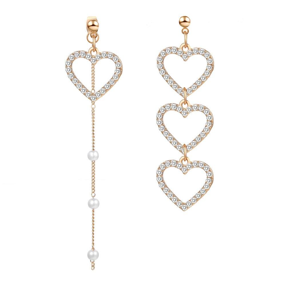 Korean Asymmetry Heart Long Drop Earrings For women crystal Big asymmetrical Geometric dangling Earring 2019 wedding Jewelry