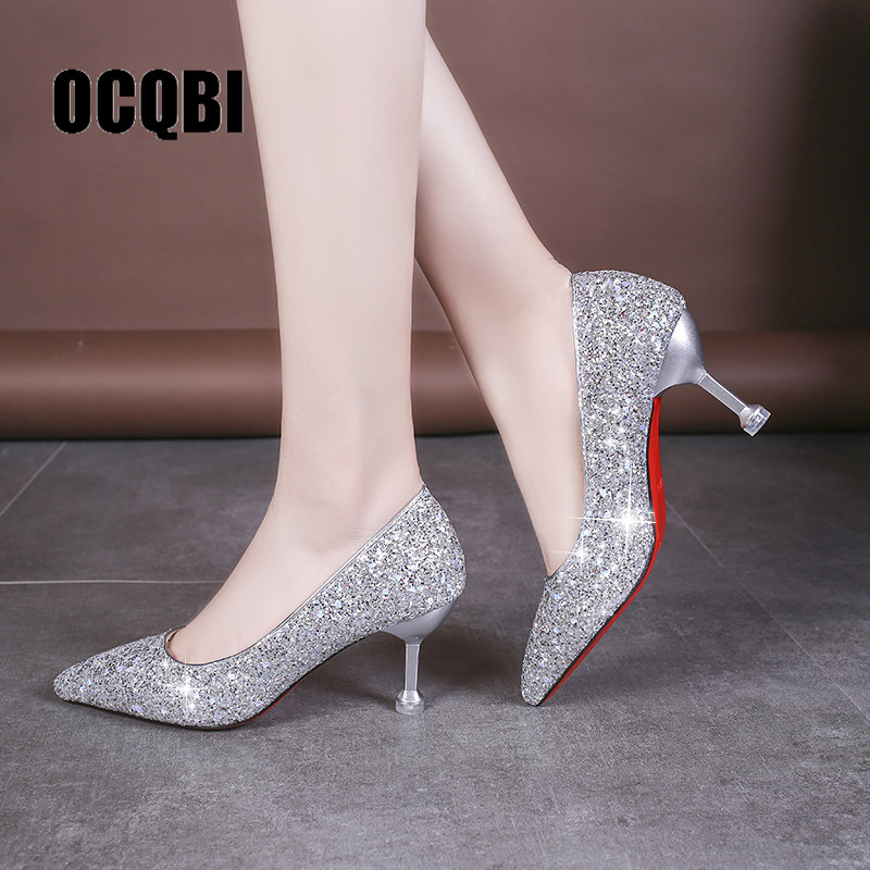 HOT 2019 new style Wedding bride shingle high-heeled shoes pointy bridesmaid gold powder crystal banquet shoes bling high heels image
