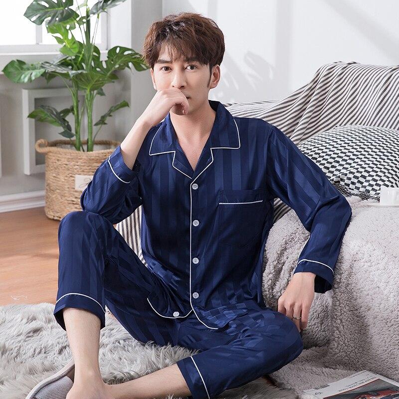 High Quality WAVMIT Long Sleeve Silk Pajamas Set Two Pieces Set Men Sleepwear Leisure Nightwear For Men Sleepwear Long Pant