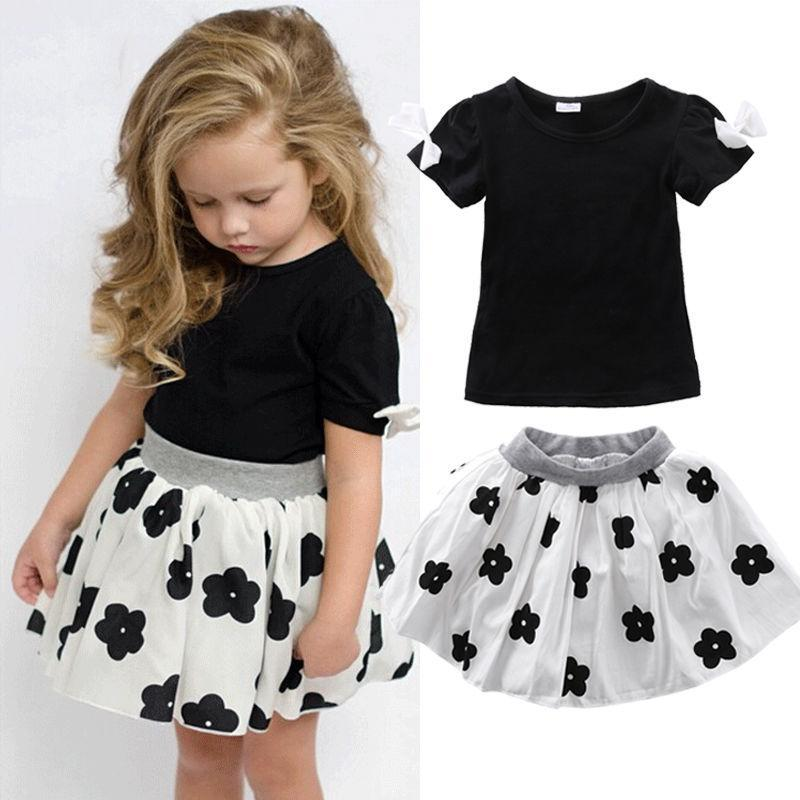 2017 Summer Style Girls Clothing Set Baby Girl Clothes Sets Cartoon Flower Children Kids Black T shirt + Skirt White Casual Suit 2pcs children outfit clothes kids baby girl off shoulder cotton ruffled sleeve tops striped t shirt blue denim jeans sunsuit set