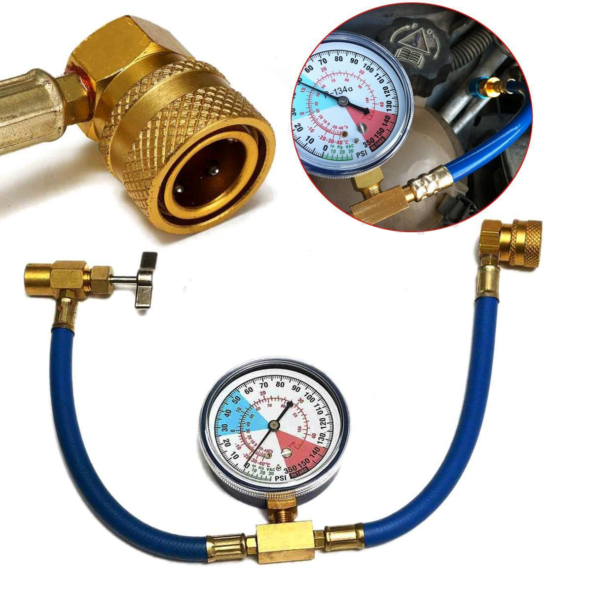 Mayitr R134A Refrigerant Recharge Measuring Hose With Pressure Gauge Kit M14 / 1/2 Thread For Car Air Conditioning AC 13mm male thread pressure relief valve for air compressor