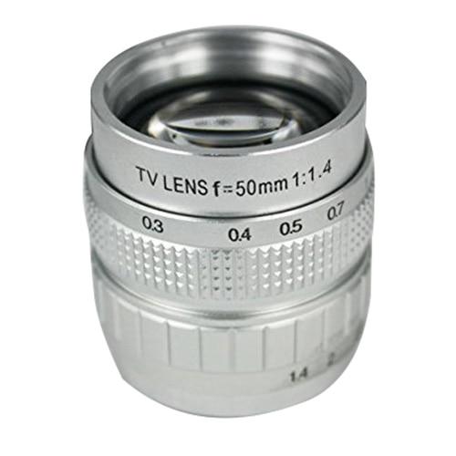 50mm Silver F1.4 CCTV TV Lens C Mount For GF3 GF2 GF1 G3 EP1 2 EPL1 2