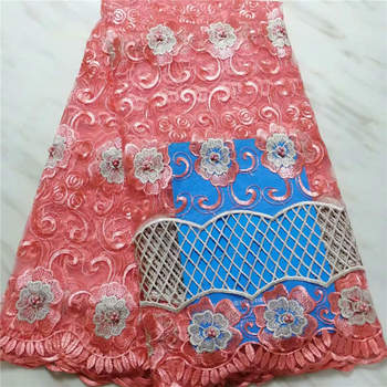 Free Shipping (5yards / pc) Embroidered Peach African French Net Lace Fabric with Beads and Embroidered Party Dress