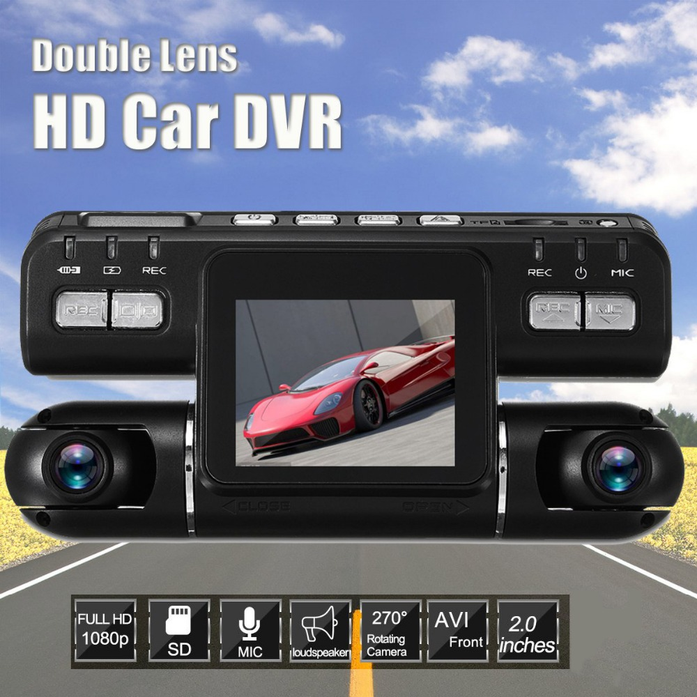 Dual Lens Full HD 1080P Car DVR Camera G-Sensor Dashcam 360 Wide Angle Recorder Support GPS Logger Dash Cam Microphone Speaker hight quality gt850w shadow1 band car dvr camera 2 7 lcd 140 degrees wide angle full hd 1280x1080p gps logger opetional