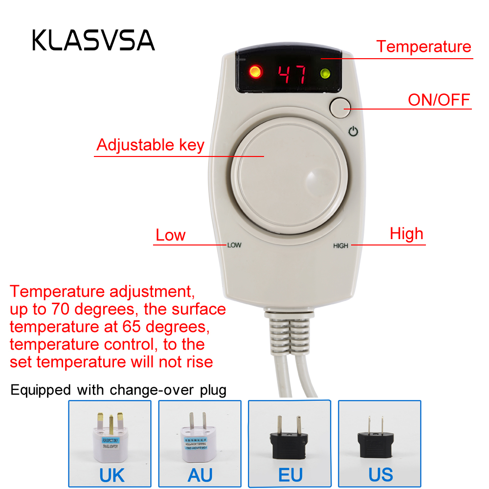 KLASVSA Electric Heating Natural Tourmaline Foot Massage Far Infrared Therapy Back Waist Leg Massager Negative Anions Relaxation