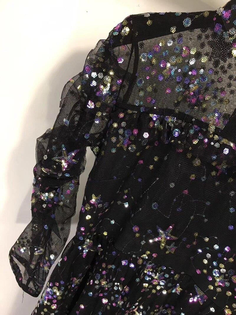 As Robe Géométrique Avec Beauté Imprimer Longues Col De Manches À as Printemps Paillettes En Tortue Pics Robes Femmes Maxi Pics Sexy Forme UMqpSVz