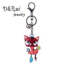 Trendy Cartoon Cat Key Chains for Womens Hangbags Black Alloy Keychains Romantic Ring Women Jewelry Car Pendant Keychain