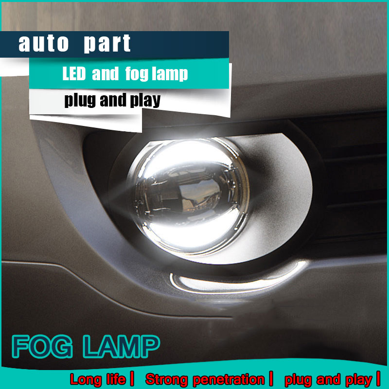 цены Car Styling Daytime Running Light 2011 for Mitsubishi ASX Fog Light Auto Angel Eye Fog Lamp LED DRL High&Low Beam Fast Shipping