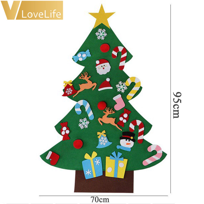 3ft kids diy felt christmas tree with ornaments children christmas gifts for new year home door wall hanging xmas decoration in trees from home garden on