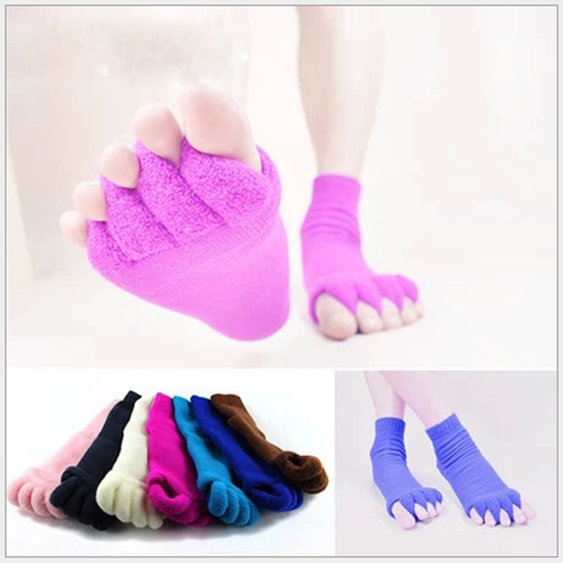 1 Pair Unisex Massage Five Toes Separator Socks Foot Alignment Pain Relief Socks  FS99