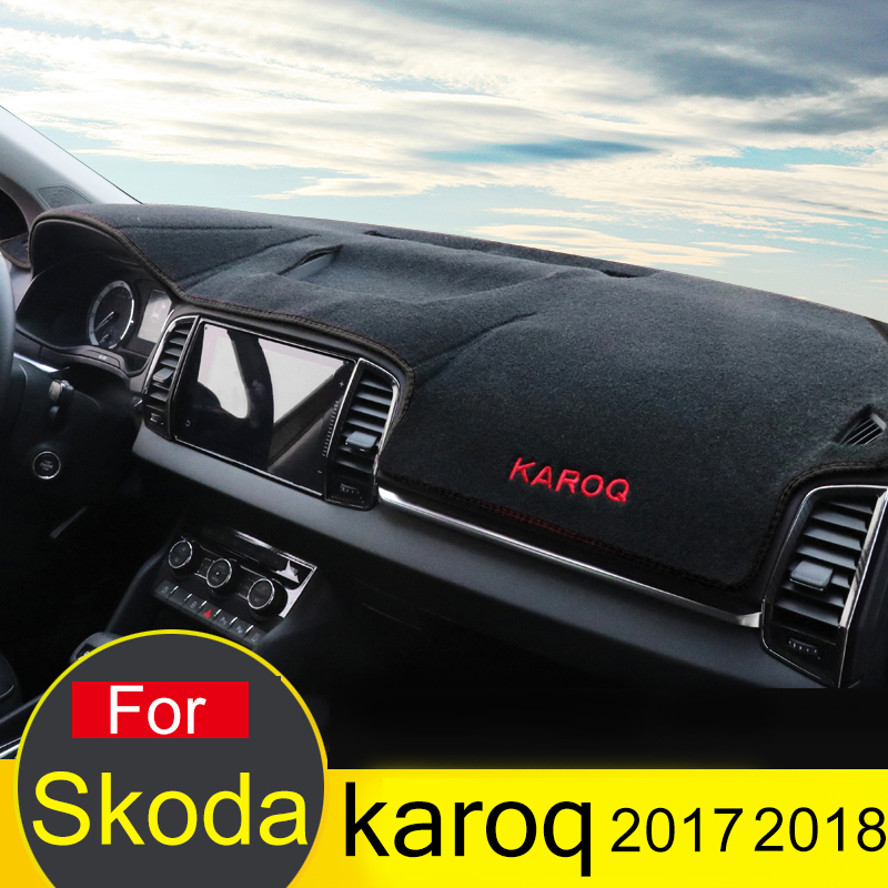 For Skoda Karoq 2017 2018 LHD Car Dashboard Avoid Light Pad Instrument Platform Desk Cover Mat Carpets Accessory