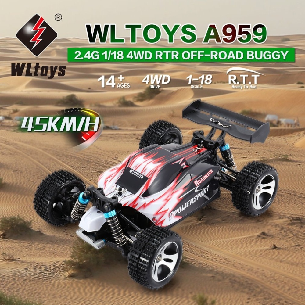 WLtoys A959 2.4GHz 1/18 Full Proportional Remote Control 4WD Vehicle 45KM/h High Speed Electric RTR Off-road Buggy RC Car wltoys a959 rc car off road car 1 18 scale 2 4g 4wd rtr off road buggy high speed racing car remote control truck electric rtr