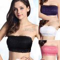 Hot Selling 2017 New Sexy Ladies Full Lace Stretch Padded Strapless Bra Bandeau Free Shipping l1
