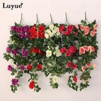 Luyueประดิษฐ์ดอกกุหลาบผ้าไหมIvyใบ