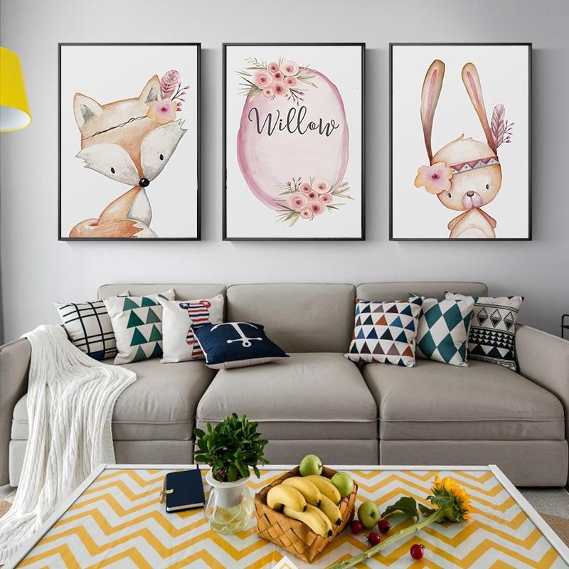 Nordic Trendy Minimalist Flowers Cute Fox White Rabbit Cartoon Animal Canvas Portray Artwork Print Poster Image Wall Residence Decor Portray & Calligraphy, Low cost Portray & Calligraphy, Nordic Trendy...