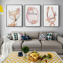 Nordic Modern Minimalist Flowers Cute Fox White Rabbit Cartoon Animal Canvas Painting Art Print Poster Picture Wall Home Decor