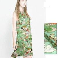 138 cm 12 momme tradycyjnego Chińskiego malarstwa pięknych kobiet druku jedwabiu tkaniny lniane tkaniny Darmowa wysyłka SLB1675