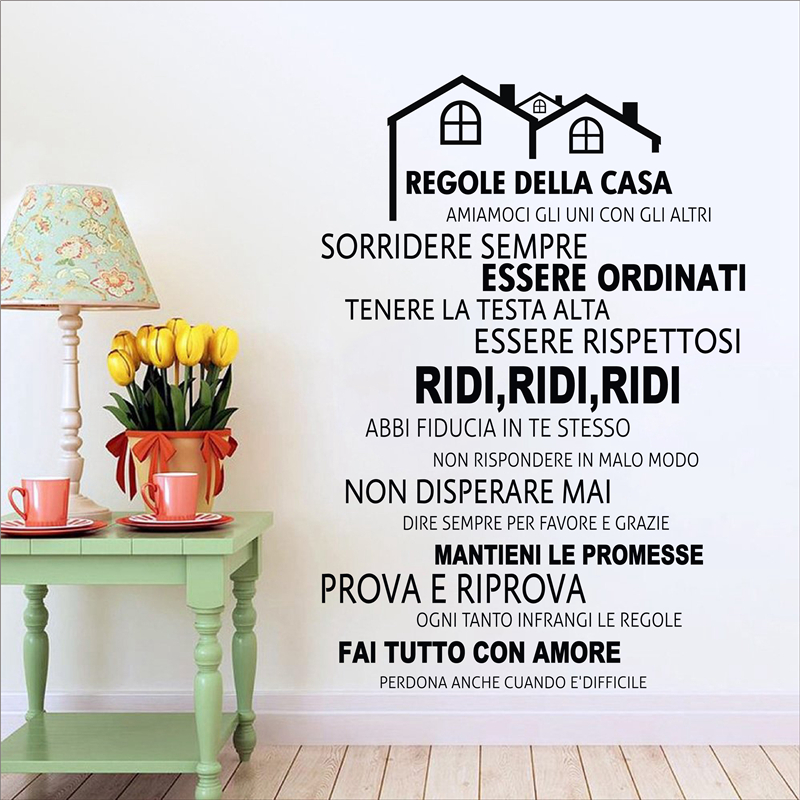 Free Shipping Family Is Vinyl Wall Lettering Quote Wall: Free Shipping Italian House Rules Vinyl Wall Decals Mural