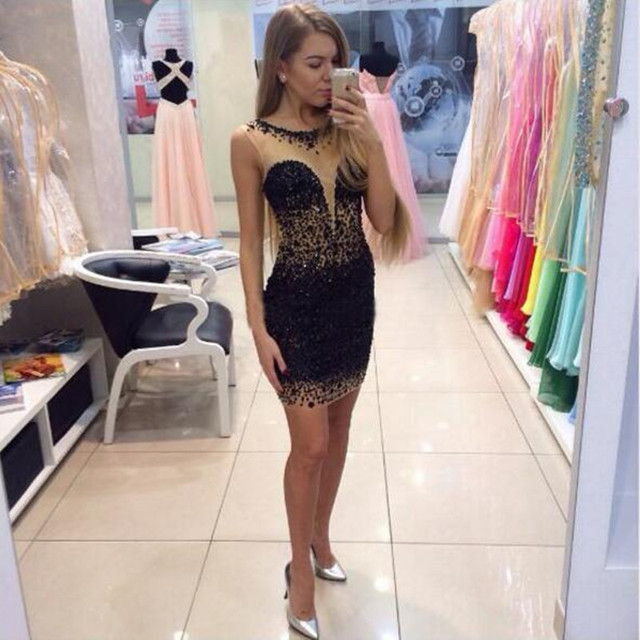 Sexy Fashion Tulle Heavy Beaded Crystal Cocktail Prom Gown robe de Scoop Neck Wedding Party Dress