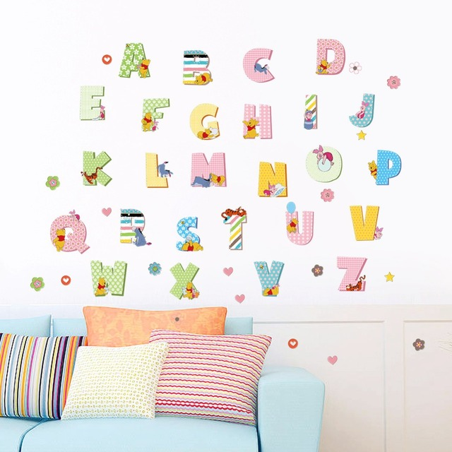Animals Zoo Cartoon Winnie Pooh Letter Flowers Height Wall Sticker For Kids Room Decals