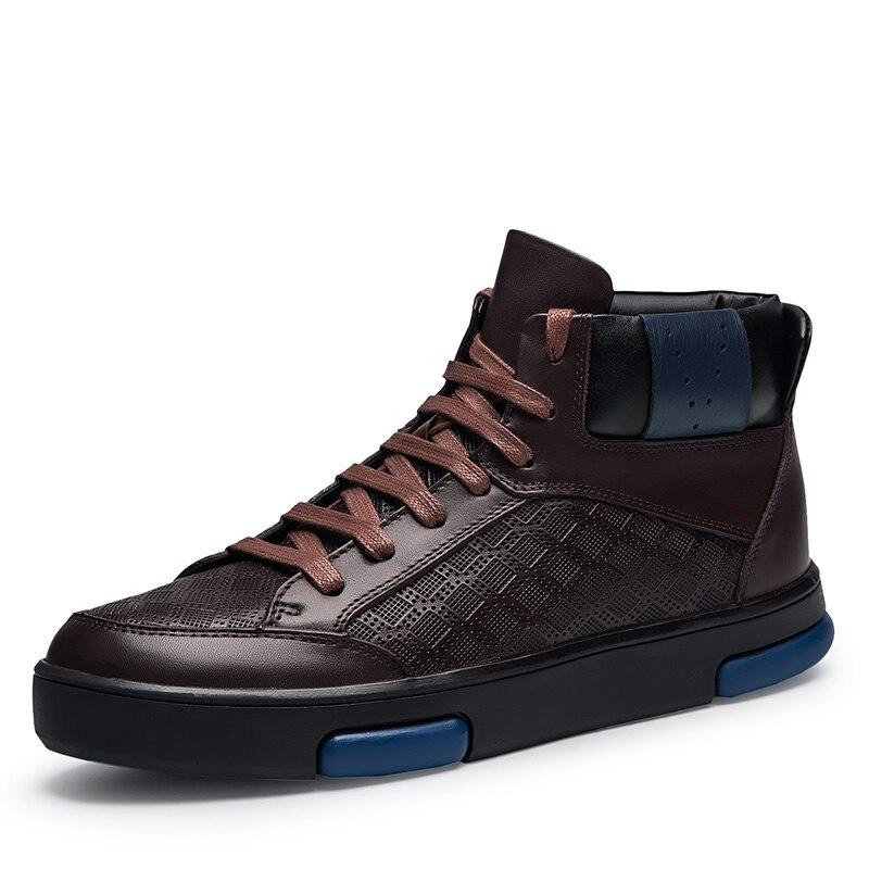 Neue Männer Warme Winter Stiefel Outdoor Herbst Echt Leder Geprägte Schwarz Skateboard Schuh Weich Und Bequem Schnee Stiefel Männer