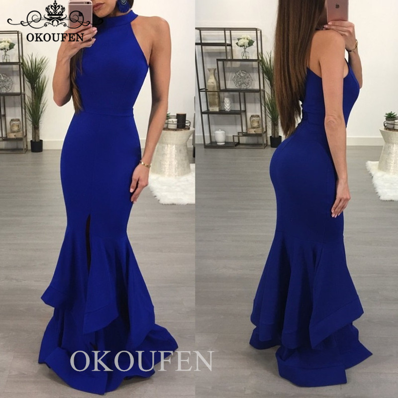 Wholesale Price Mermaid Long   Bridesmaid     Dresses   In Royal Blue 2019 Halter Maid Of Honor   Dress   Party Formal Gown Vestido Madrinha
