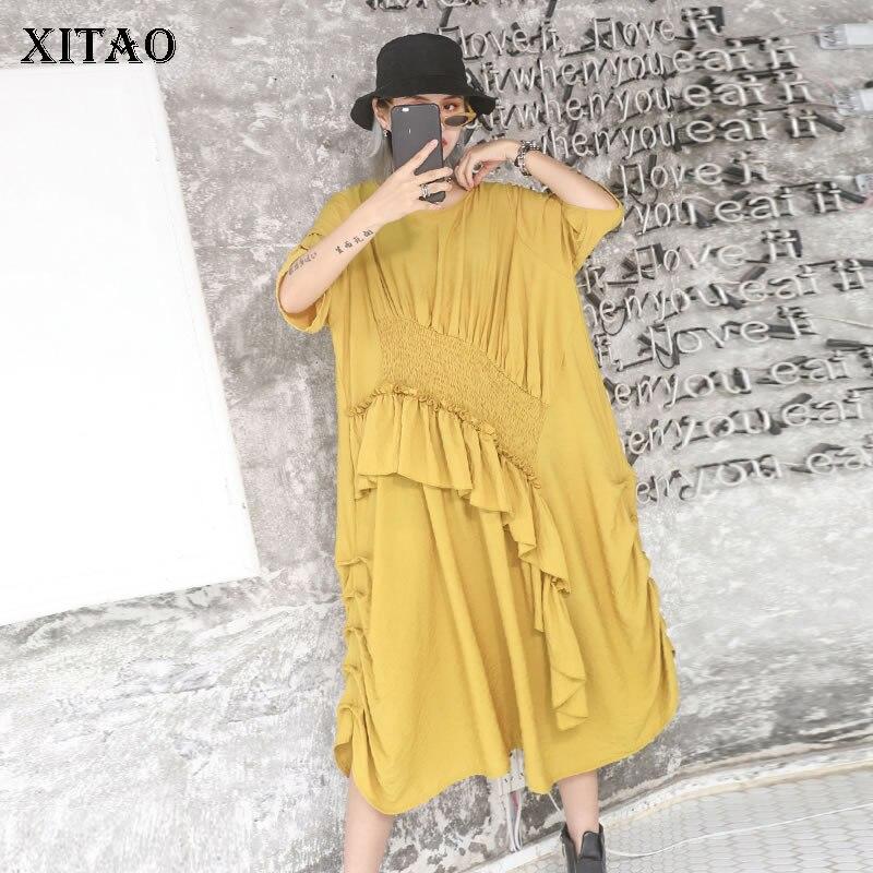 XITAO Irregular Slim Pleated Dress Patchwork Ruffle Plus Size Yellow Dress Women Clothes 2019 Pullover Half Sleeve SummerZLL3713