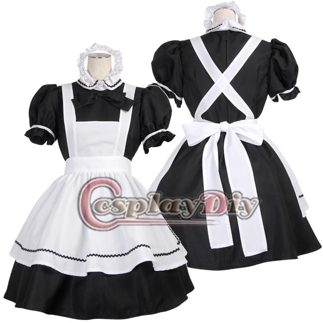 Free Shipping Custom-made Simple Lolita Maid Cosplay Dress Black & White Maid Costume xml made simple
