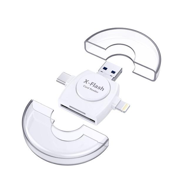 For lightning to sd smart memory card reader usb 3.0 OTG type-c external TF card reader adapter for Macbook cellphone computer