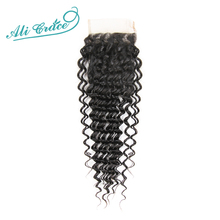 Ali Grace derin dalga kapatma 4*4 ücretsiz orta kısmı İnsan saç kapatma 120% kader İsviçre dantel Remy saç brezilyalı dantel kapatma