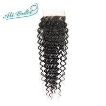 Perruque brésilienne naturelle Deep Wave Ali Grace, cheveux Remy, avec Closure 4x4, Swiss Lace, densité 120%, partie libre et centrale