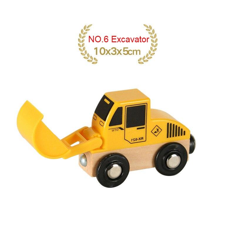 EDWONE деревянный магнитный Поезд Самолет деревянная железная дорога вертолет автомобиль грузовик аксессуары игрушка для детей подходит Дерево Biro треки подарки - Цвет: NO.6 Excavator