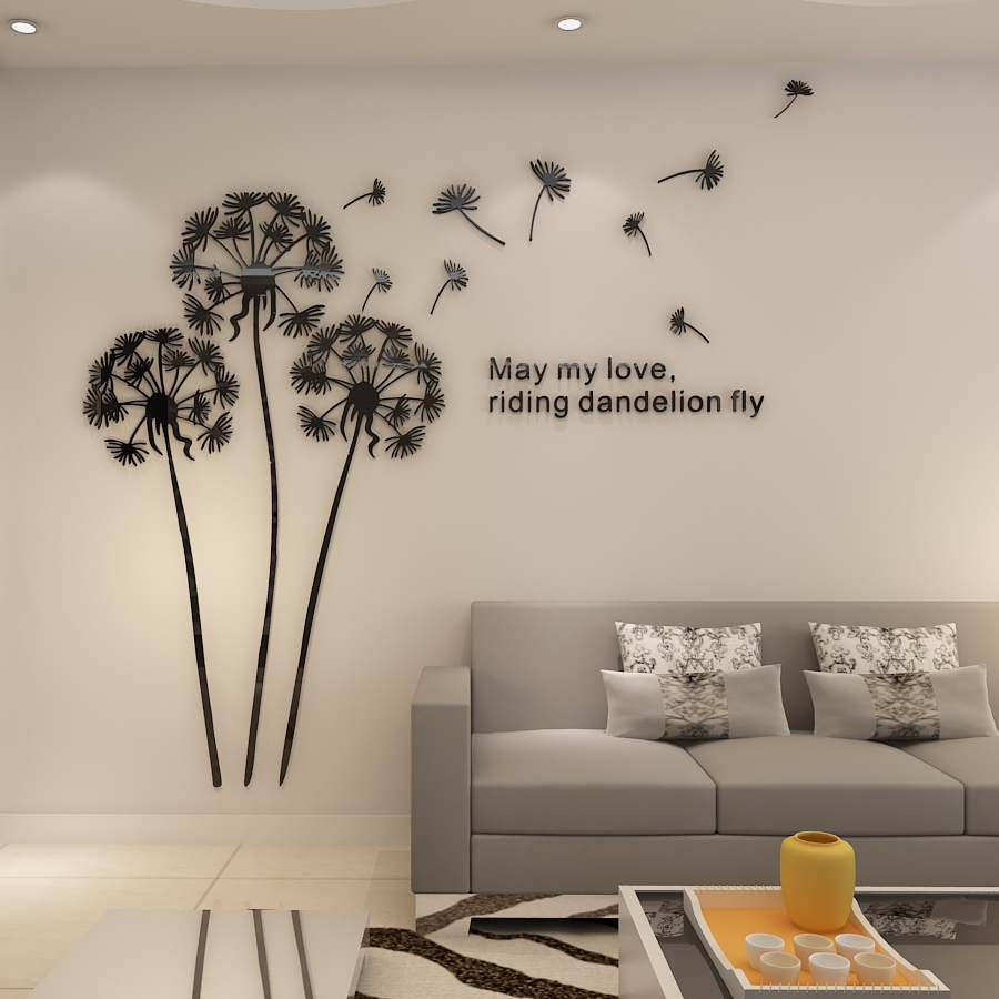 Home Decor For Sale: Hot Sale Dandelion 3D Wall Sticker Creative Crytsal