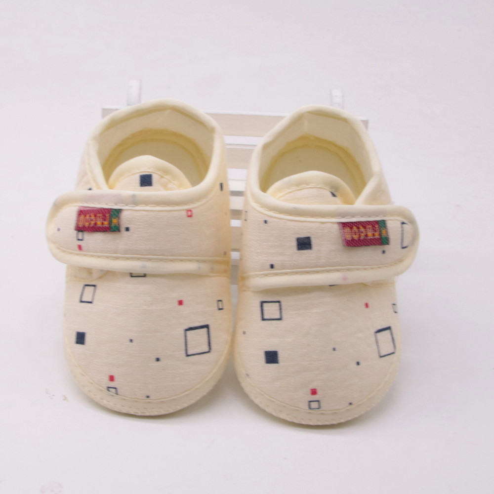 Newborn Baby Girl Boy First Walkers Soft Shoes Soled Non-slip Block Print Footwear Crib Shoes A1