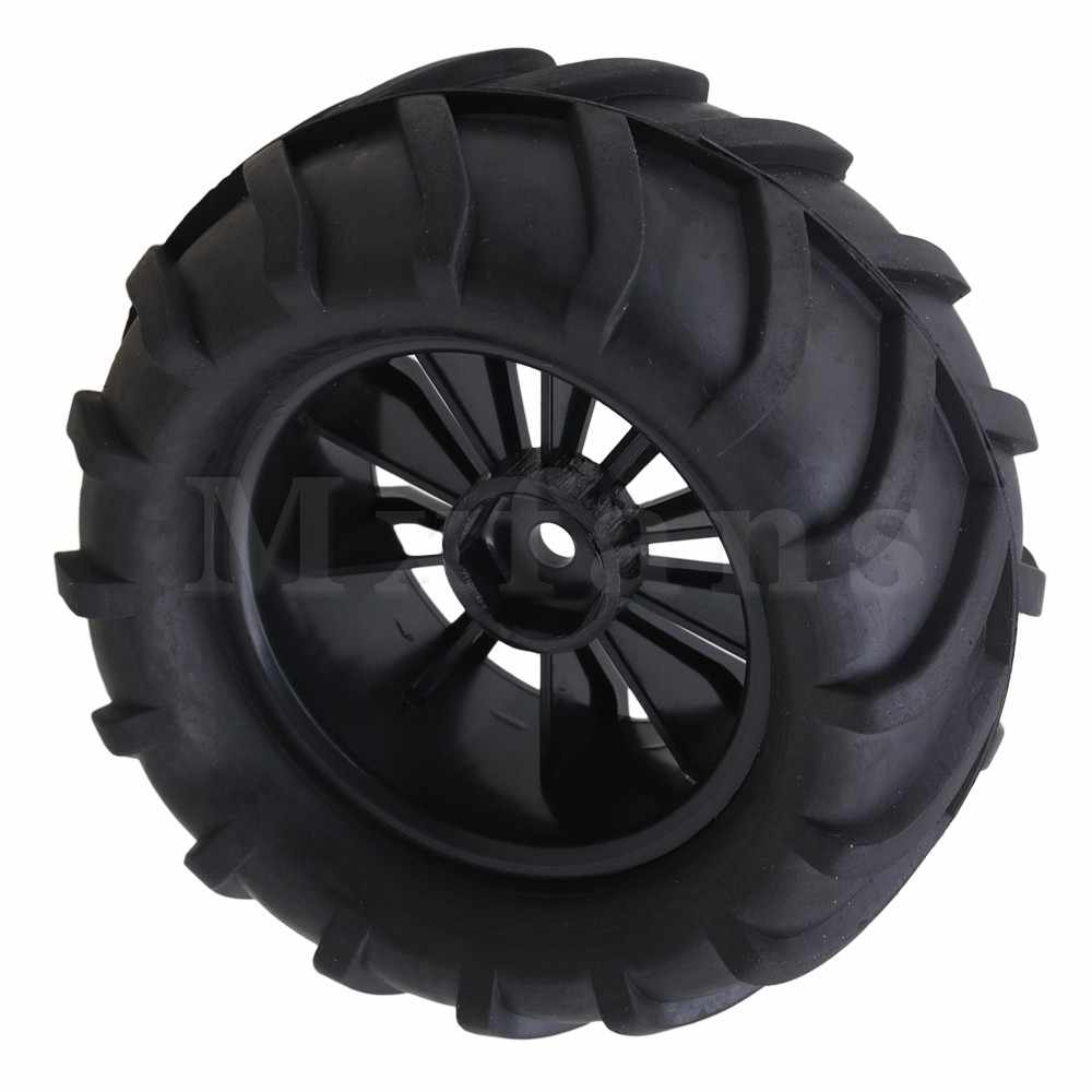 Mxfans 12mm Hex Hitam Cekung Plastik Roda Rims + Ranting pola Karet Ban Ban untuk RC1: 16 Largefoot Mobil pak 4