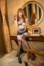 Womens Cupless Sexy Lingerie Set Sheer French Maid