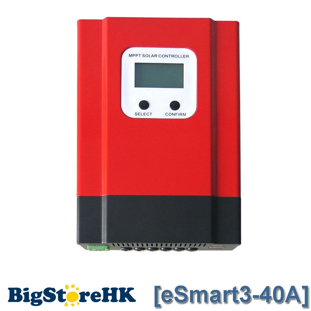 ESmart3 MPPT40A Solar Charge Controller Max 130VDC Input Backlight Solar Controller RS485 Port with LCD12V 24V 36V 48V Autowork solar controller charge with usb port 2440u 12v24v40a