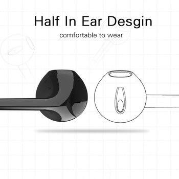 Langsdom BL6 หูฟังไร้สายบลูทูธหูฟังกีฬาหูฟังบลูทูธสำหรับโทรศัพท์ครึ่งหูฟังบลูทูธในหู
