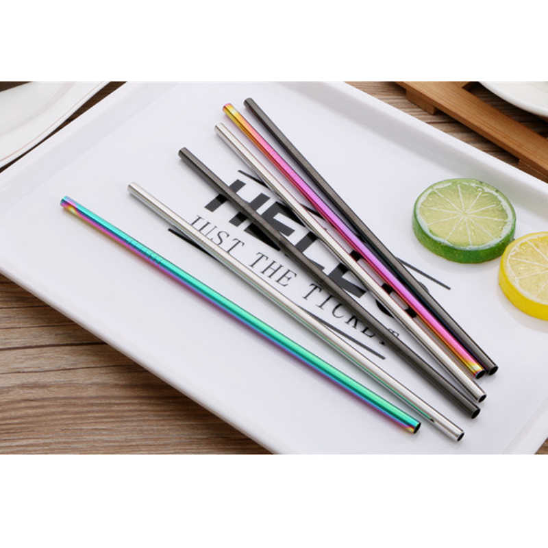 3pcs Reusable Drinking Straw High Quality 304 Stainless Steel Metal Straw with Cleaner Brush For Mugs Party drinks drop shipping
